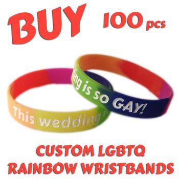 N1) Custom Printed Silicone LGBTQ Rainbow Pride Wristbands x 100 pcs