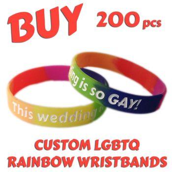 N2) Custom Printed Silicone LGBTQ Rainbow Pride Wristbands x 200 pcs