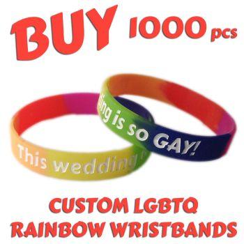 N9a) Custom Printed Silicone LGBTQ Rainbow Pride Wristbands x 1000 pcs