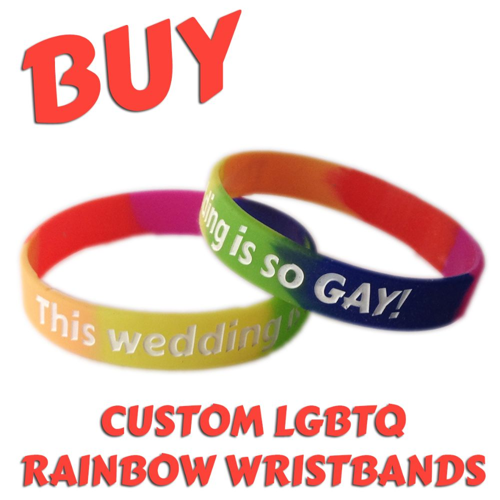 B1) Customisable 12mm Rainbow LGBTQ Wristbands
