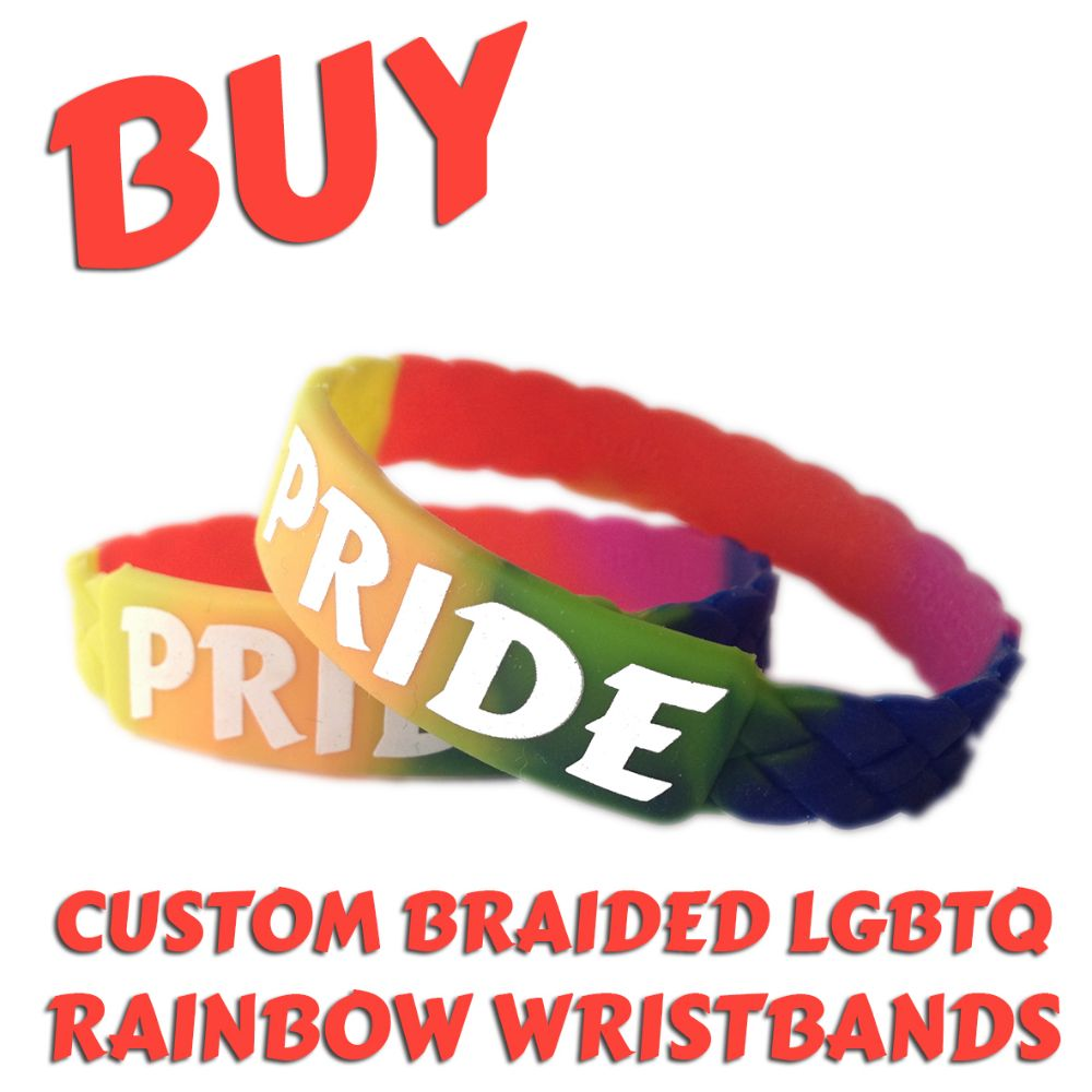 B2) Customisable Braided Rainbow LGBTQ Wristbands