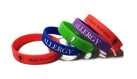 Allergy School Lunch Wristbands - Custom Printed Wristbands by Promo-Bands.