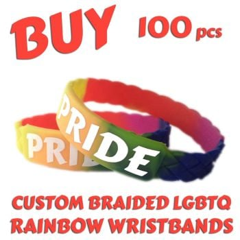 M1) Custom Printed LGBTQ Rainbow Braided Pride Wristbands x 100 pcs