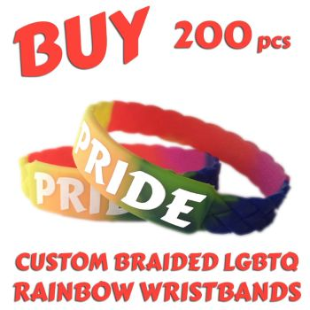 M2) Custom Printed LGBTQ Rainbow Braided Pride Wristbands x 200 pcs