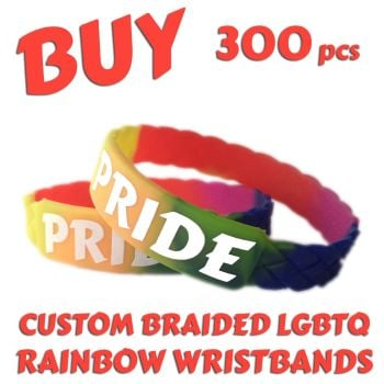 M3) Custom Printed LGBTQ Rainbow Braided Pride Wristbands x 300 pcs