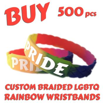M5) Custom Printed LGBTQ Rainbow Braided Pride Wristbands x 500 pcs