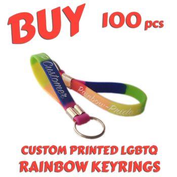 O1) Custom Printed LGBTQ Rainbow Pride Keyrings x 100 pcs