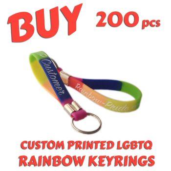O2) Custom Printed LGBTQ Rainbow Pride Keyrings x 200 pcs