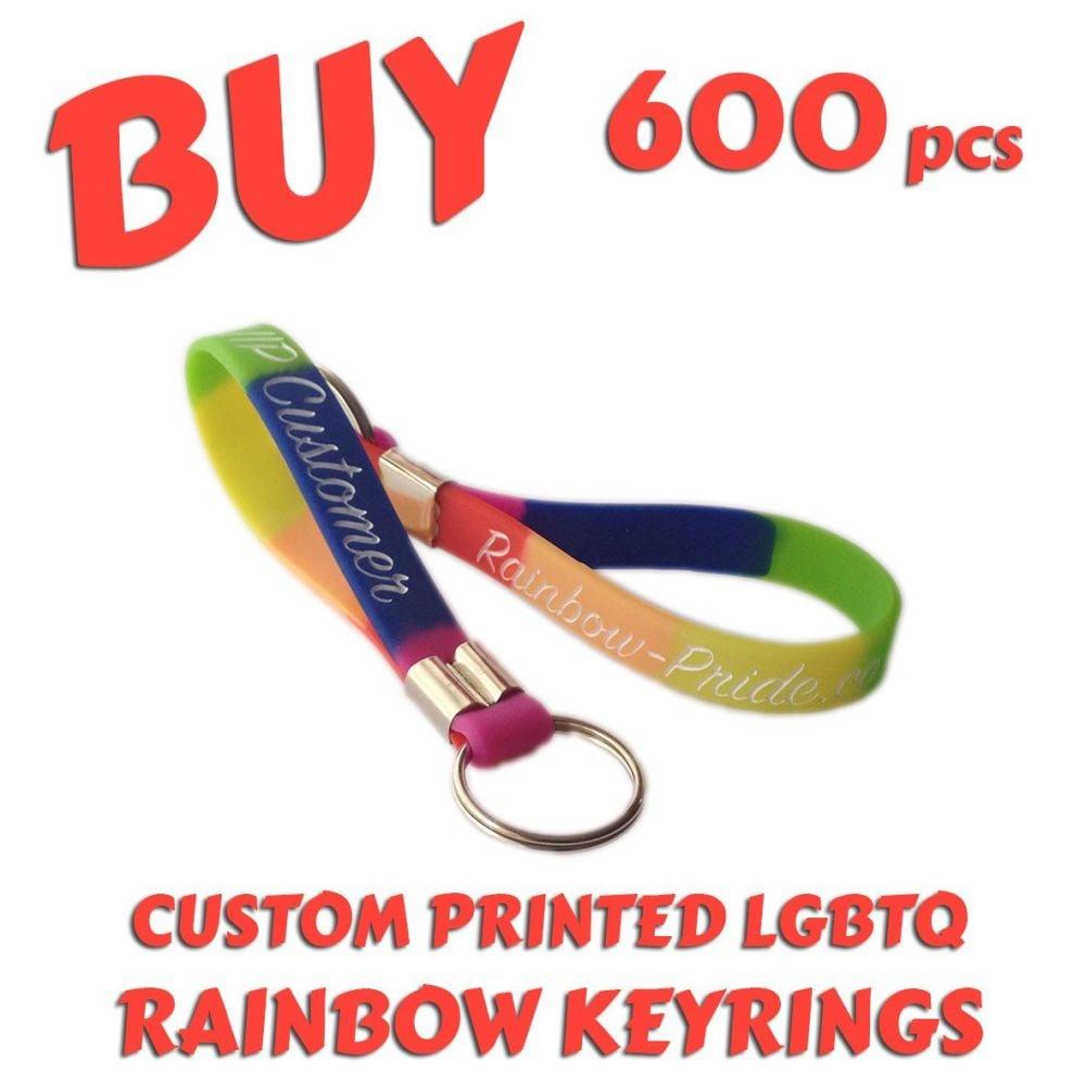 O6) Custom Printed LGBTQ Rainbow Pride Keyrings x 600 pcs