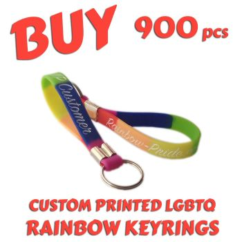 O9) Custom Printed LGBTQ Rainbow Pride Keyrings x 900 pcs