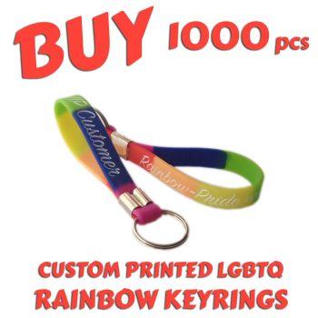 O9a) Custom Printed LGBTQ Rainbow Pride Keyrings x 1000 pcs
