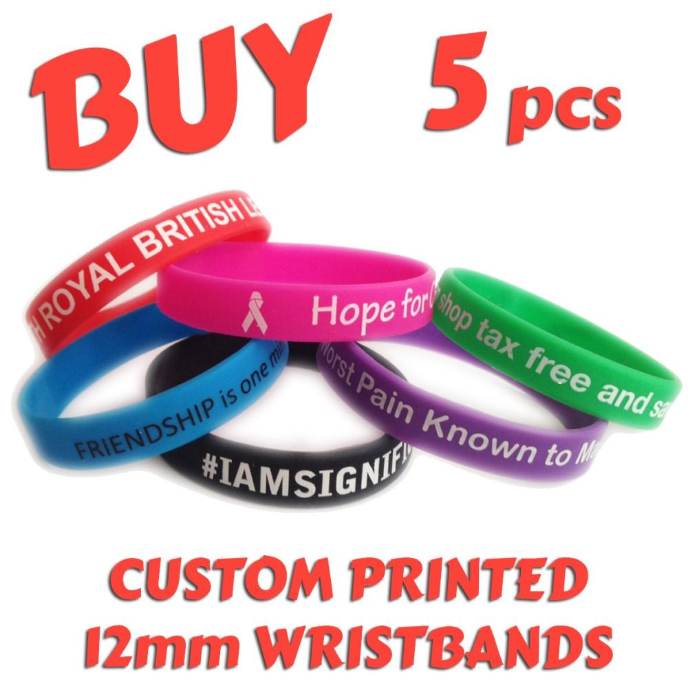 R1) Custom Printed Silicone Wristbands x 5 pcs