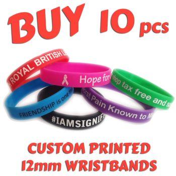 R2) Custom Printed Silicone Wristbands x 10 pcs