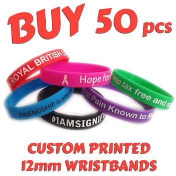 R4) Custom Printed Silicone Wristbands x 50 pcs