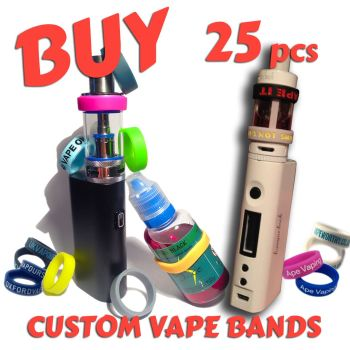 S3) Custom Printed Vape Bands x 25 pcs