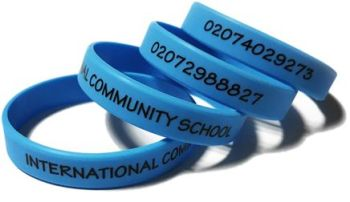 International Community School - Custom Printed School Trip Wristbands by S