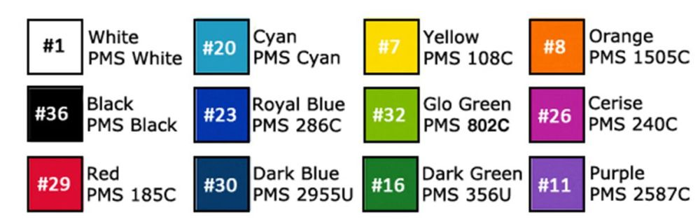 *Promo-Bands - Colour Chart ebay