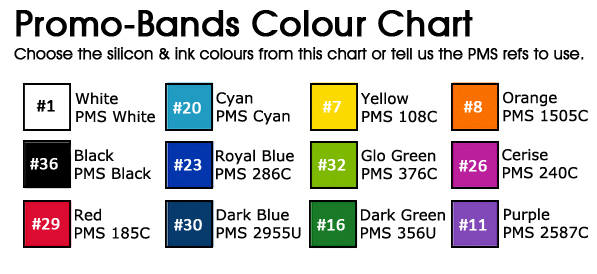 Promo Bands - Colour Chart