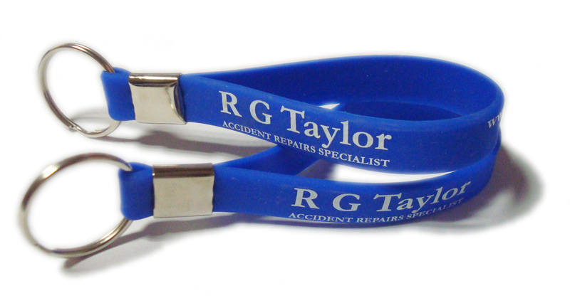 Silicone Keyrings for R G Taylor keyrings by www.Promo-Bands.co.uk