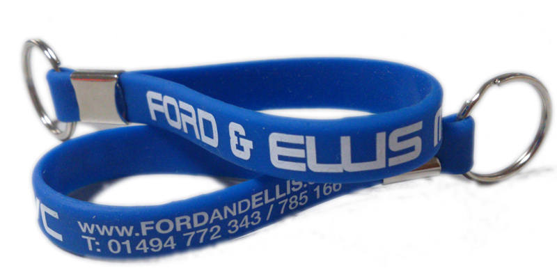 Ford & Ellis silicone keyrings - www.promo-bands.co.uk