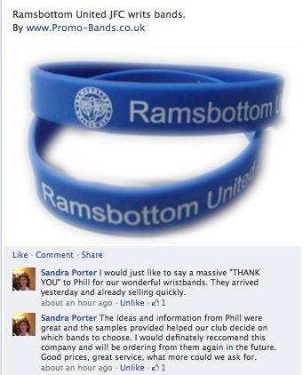 Customer comments - Ramsbottom United FC - for www.promo-bands.co.uk
