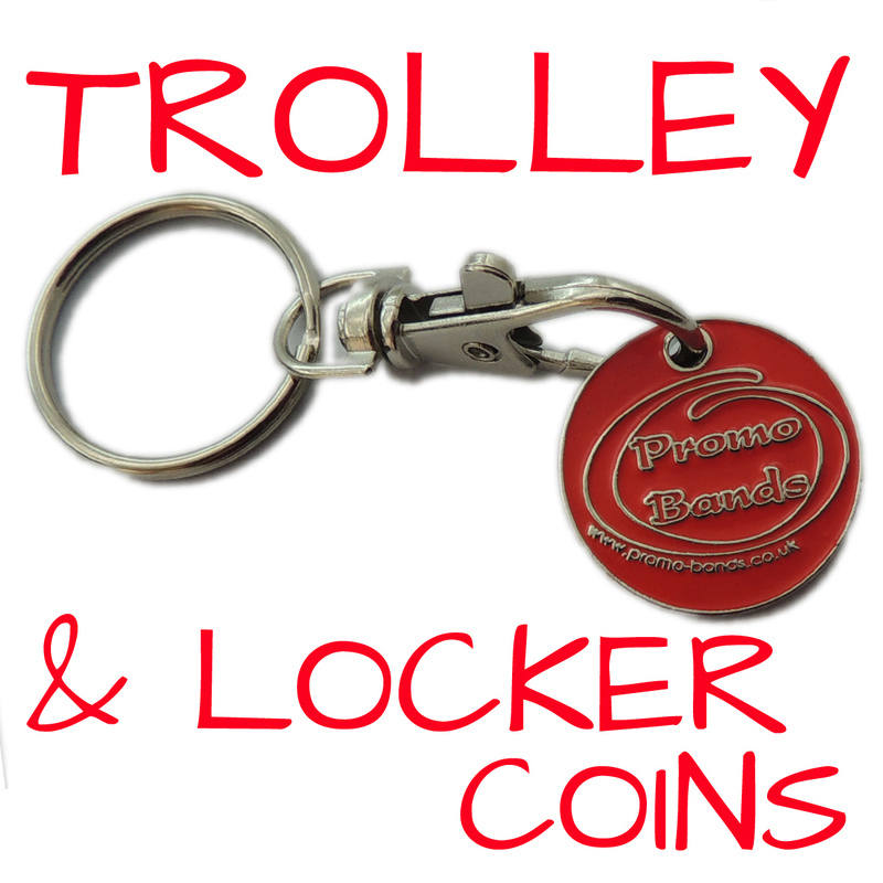 TROLLEY COINS BY WWW.PROMO-BANDS.CO.UK