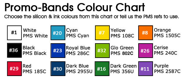 Promo-Bands - Colour Chart. www.Promo-Bands.co.uk