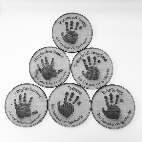 Handprint or footprint solid oak coaster