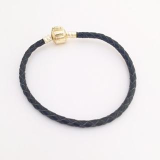 Braided leather charm bracelet