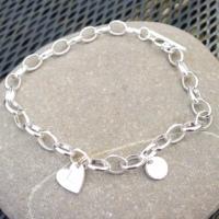 Sterling silver belcher charm bracelet