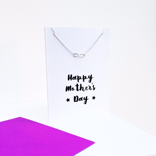 Sterling silver infinity necklace and card