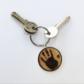 Personalised oak imprint keyring