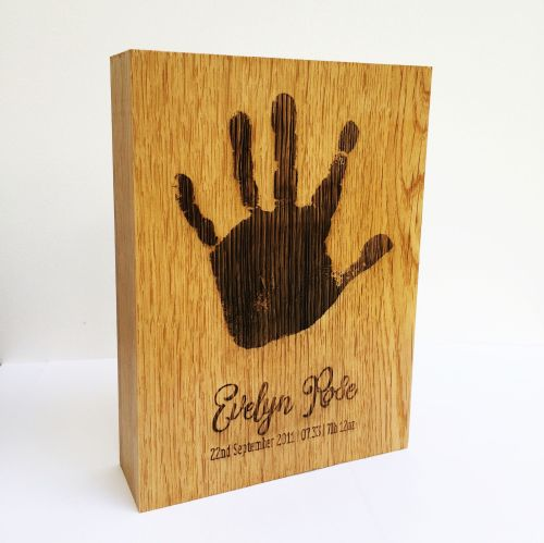 Personalised solid oak imprint block
