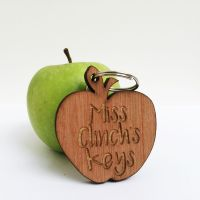Personalised wooden apple keyring
