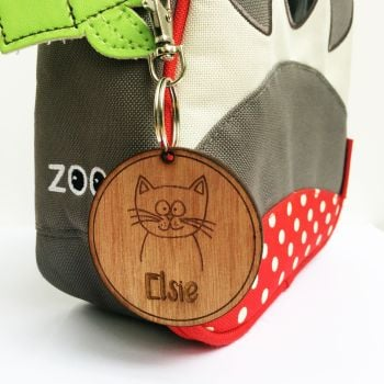 Personalised wooden bag tag