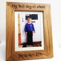 Solid oak 1st day at school engraved photo frame