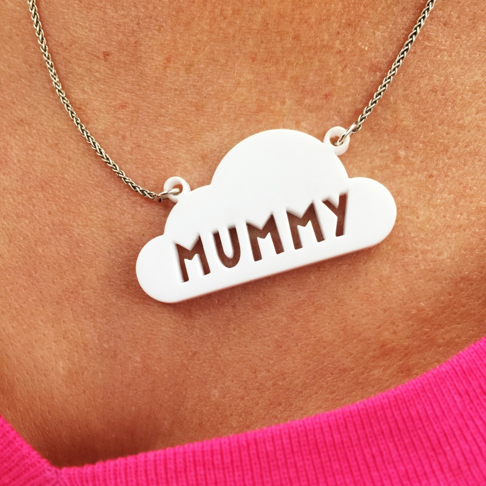 Personalised acrylic cloud necklace