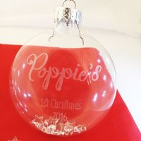Personalised 1st Christmas glass bauble