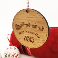 Personalised solid oak tree decoration
