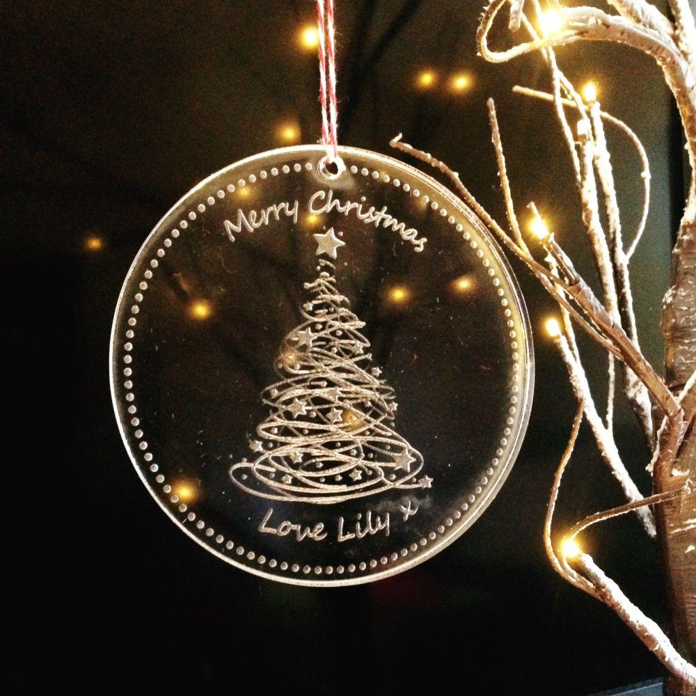 Personalised solid oak tree decoration
