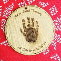Solid oak handprint or footprint tree decoration