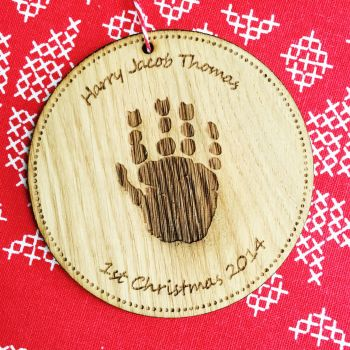 Solid oak handprint or footprint tree decoration
