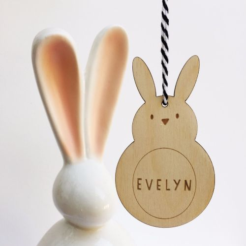 Personalised wooden egg cup & Easter animal
