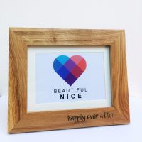 Personalised solid oak engraved photo frame