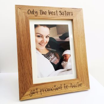 Personalised Only the best Sister/Brother solid oak engraved photo frame