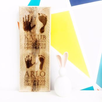 Children's wooden handprint and footprint plaque