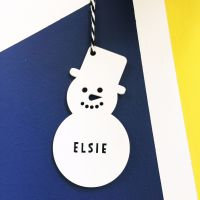 Personalised snowman tree decoration