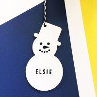 Personalised snowman tree decoration