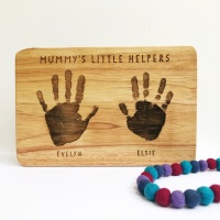 Handprint or footprint solid wood chopping board