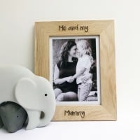 Personalised me and my Mummy solid oak engraved photo frame